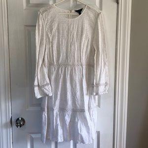 Lovely white J Crew eyelet 3/4 sleeve dress